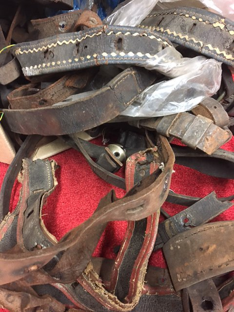 BOX OF INCOMPLETE ANTIQUE SLEIGH BELL STRAPS - 3