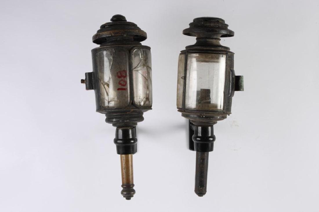 CUNNINGHAM MED HEARSE & (2) TUBULAR CARRIAGE LAMPS