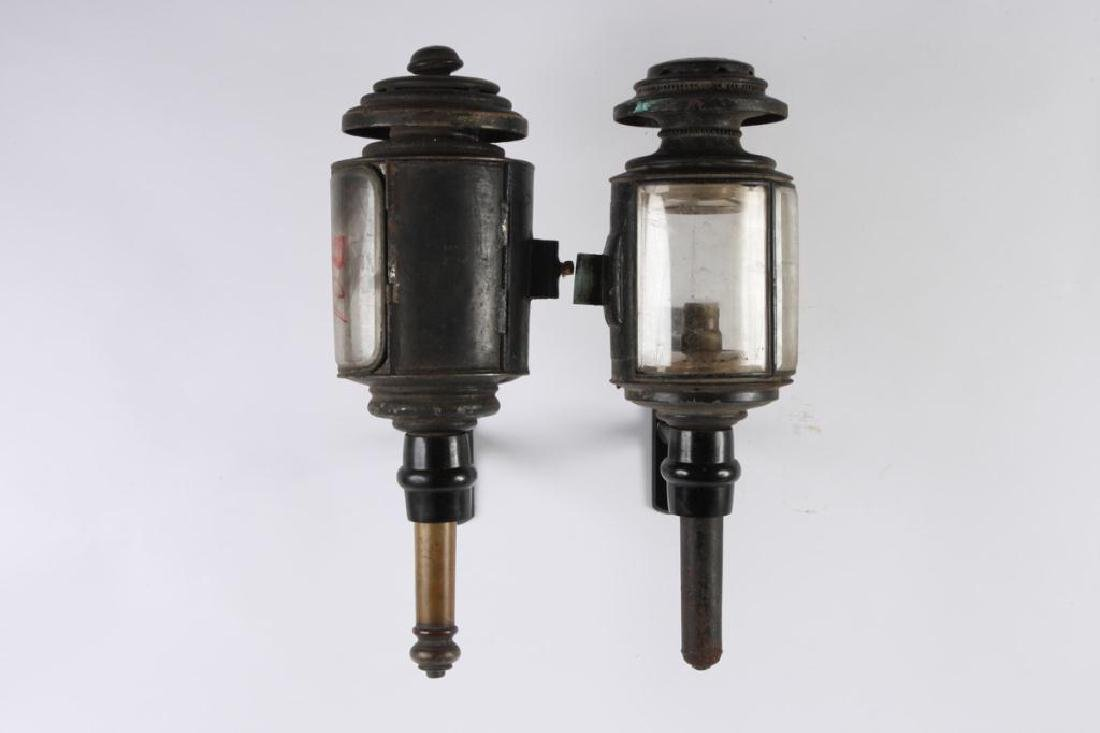 CUNNINGHAM MED HEARSE & (2) TUBULAR CARRIAGE LAMPS - 6