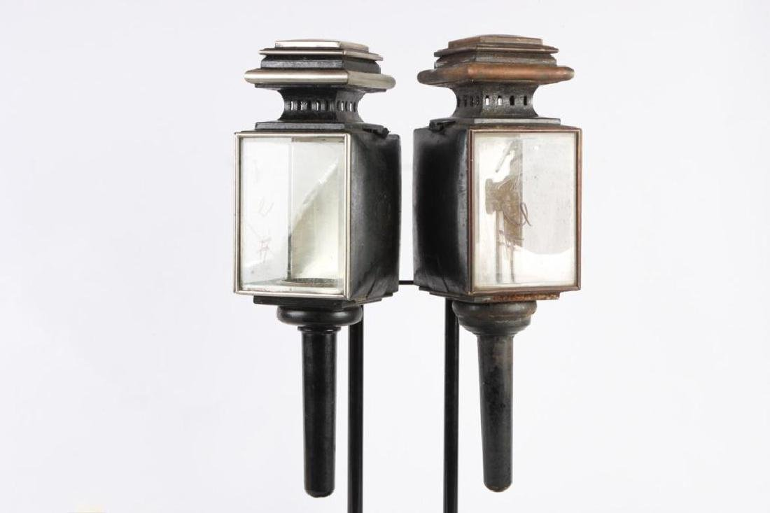 WHITE MANUFACTURING CO PAIR OF BROUGHAM LAMPS