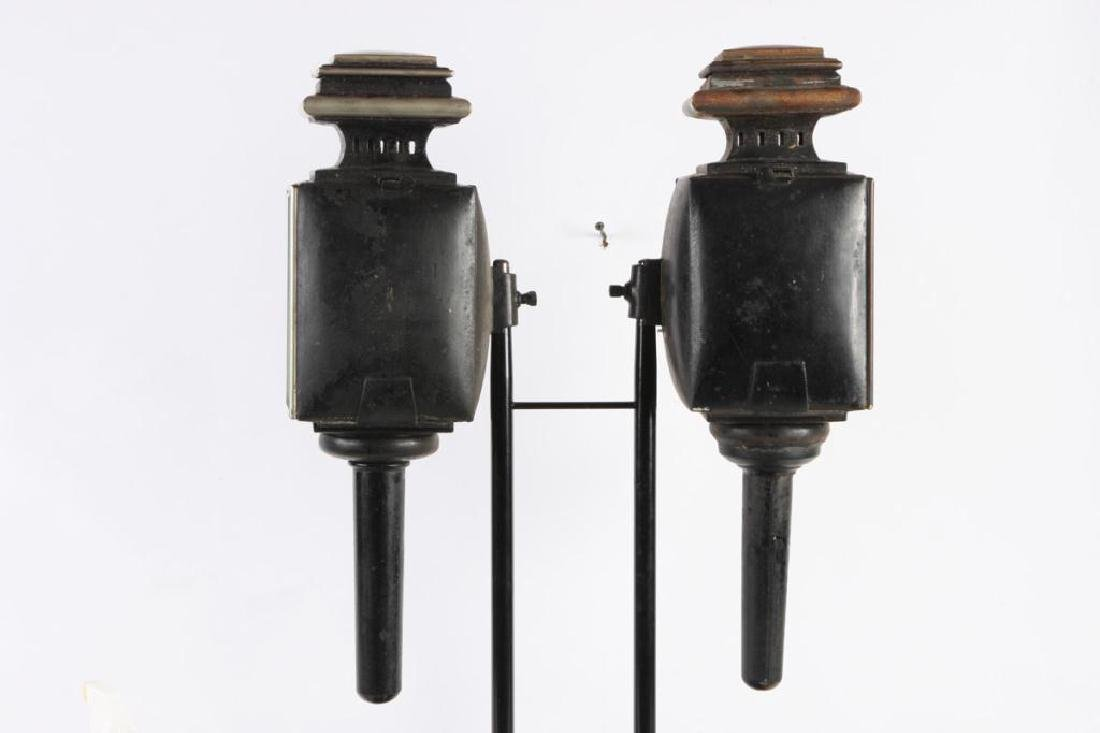 WHITE MANUFACTURING CO PAIR OF BROUGHAM LAMPS - 2