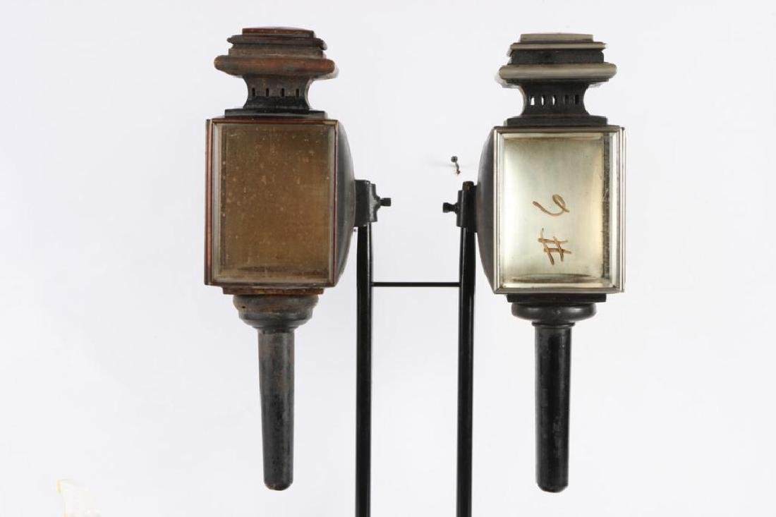 WHITE MANUFACTURING CO PAIR OF BROUGHAM LAMPS - 3