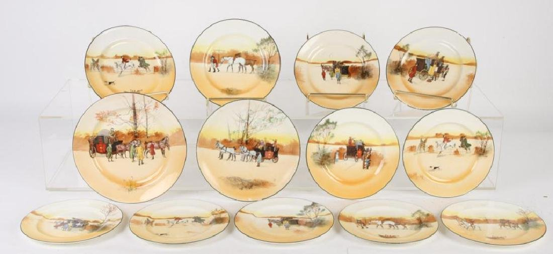 (13) ROYAL DOULTON PLATES WITH COACHING SCENES