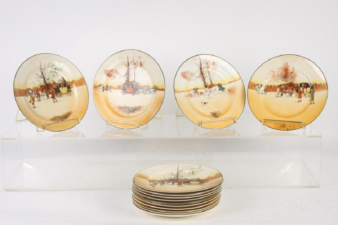 (14) ROYAL DOULTON PLATES WITH COACHING SCENES