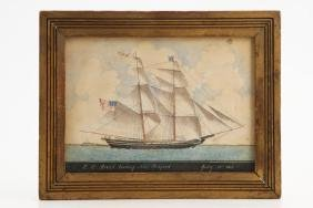 19TH C AMERICAN SCHOOL WATERCOLOR SHIP PORTRAIT