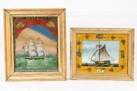 TWO MARINE REVERSE PAINTINGS ON GLASS