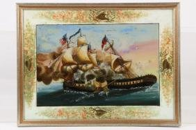 WAR OF 1812 REVERSE PAINTING ON GLASS