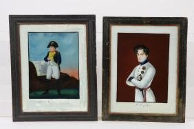 TWO NAPOLEONIC REVERSE PAINTING ON GLASS PORTRAITS