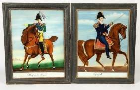 TWO REVERSE PAINTINGS ON GLASS GENERALS HORSEBACK