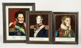 THREE EUROPEAN PORTRAIT REVERSE PAINTINGS ON GLASS