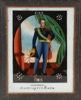 REVERSE PAINTING ON GLASS PORTRAIT OF LEOPOLD I