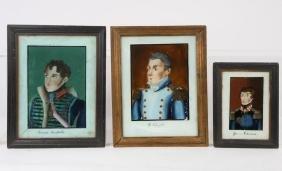 THREE REVERSE PAINTING ON GLASS PORTRAITS