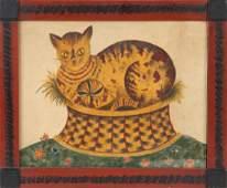 DAVID ELLINGER FOLK ART THEOREM WITH CAT