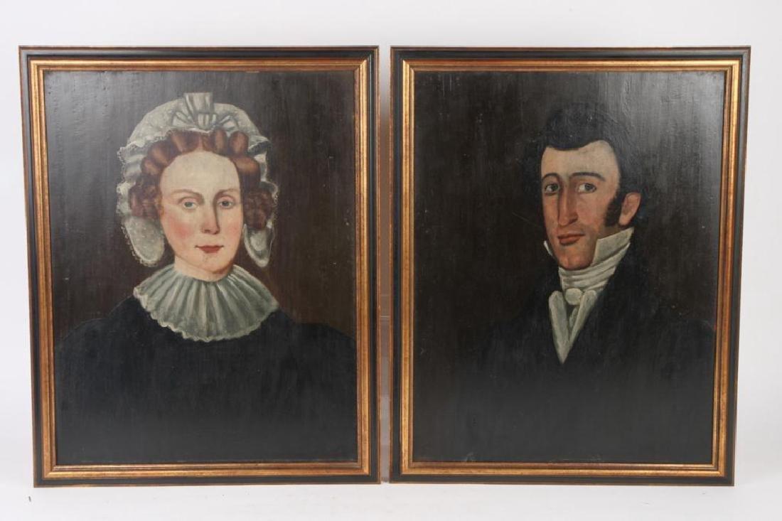 PAIR OF AMERICAN FOLK ART PORTRAITS