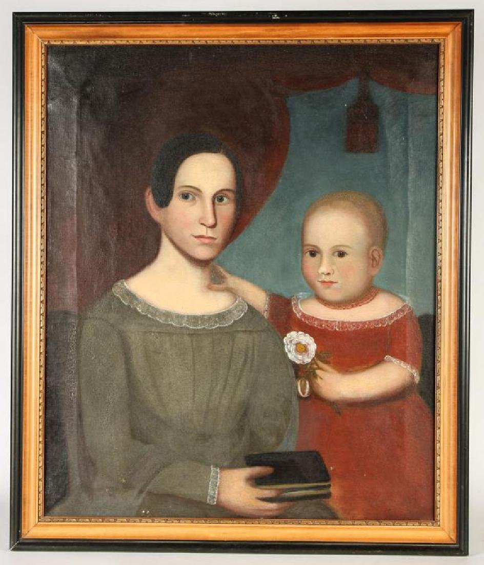 MANNER OF BELKNAP FOLK ART DOUBLE PORTRAIT