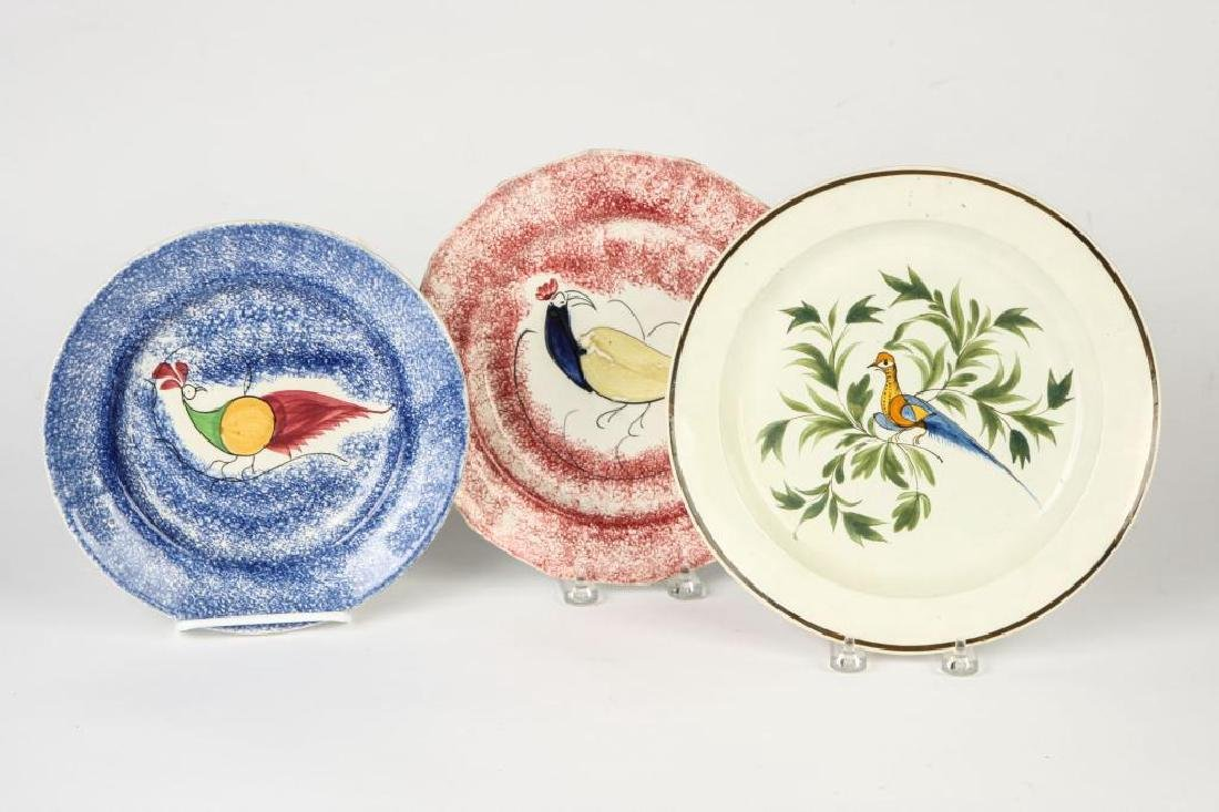 THREE BIRD DECORATED SPATTERWARE PLATES