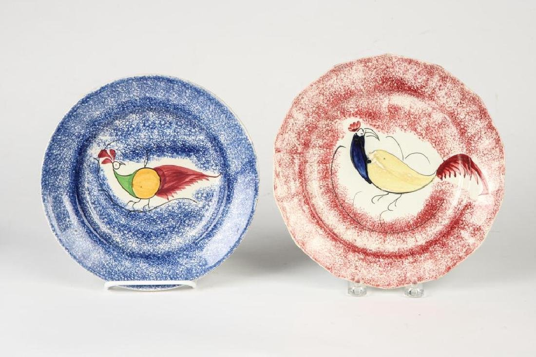 THREE BIRD DECORATED SPATTERWARE PLATES - 6
