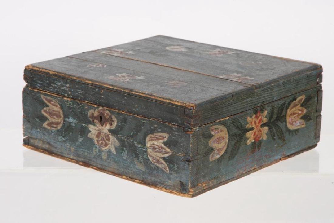 AMERICAN FOLK ART BLUE PAINTED DOCUMENTS BOX - 2