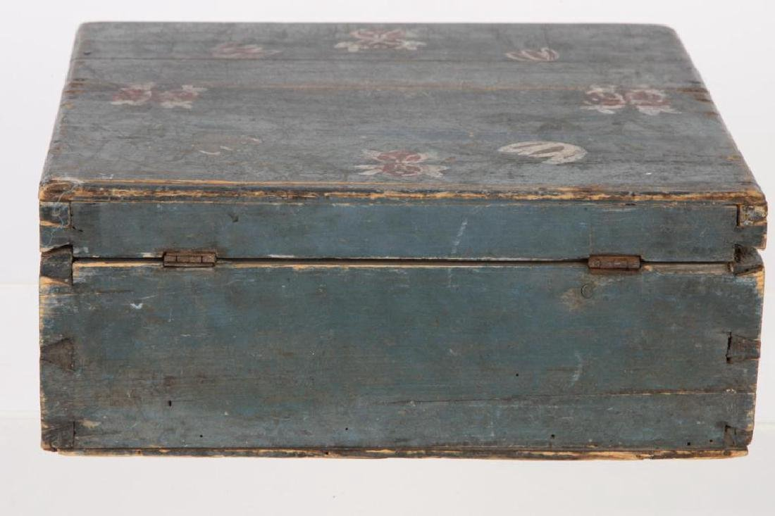 AMERICAN FOLK ART BLUE PAINTED DOCUMENTS BOX - 3