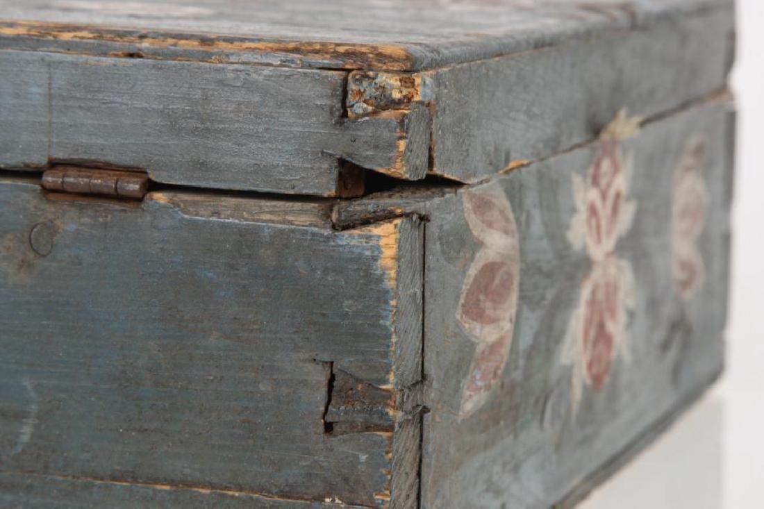 AMERICAN FOLK ART BLUE PAINTED DOCUMENTS BOX - 4