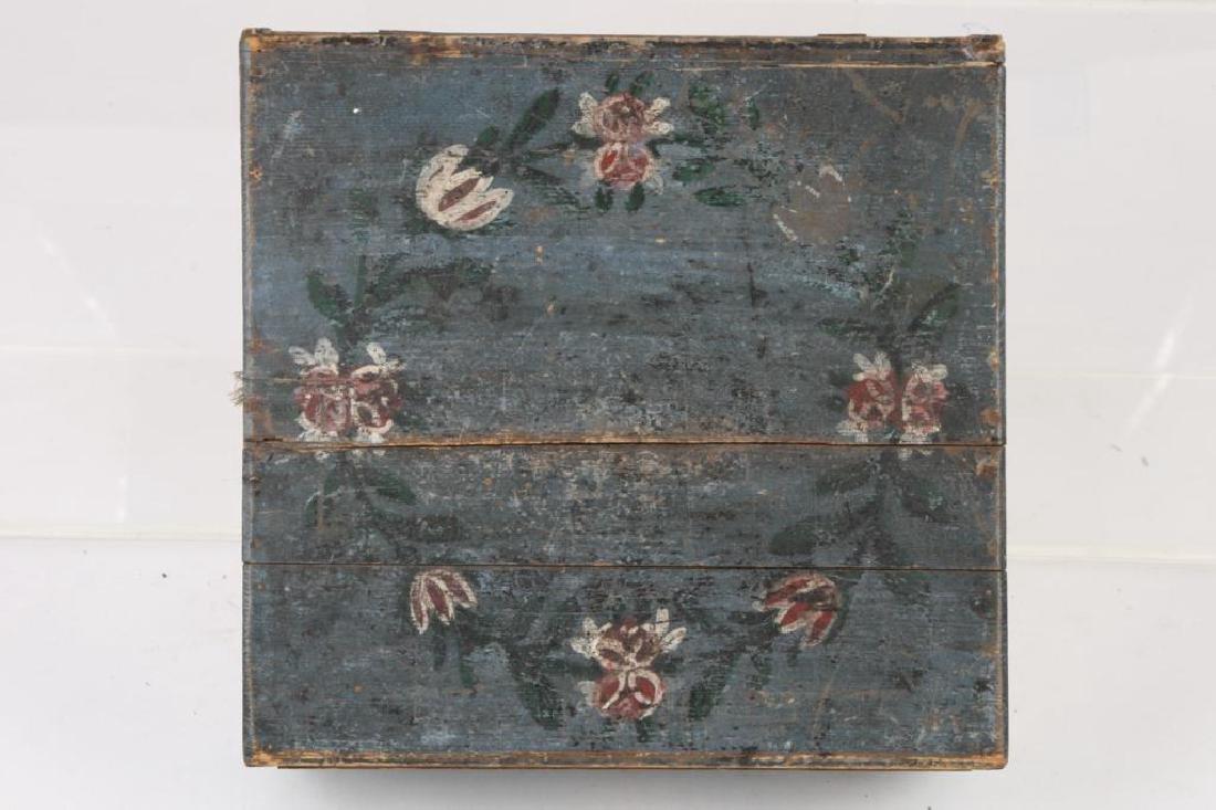 AMERICAN FOLK ART BLUE PAINTED DOCUMENTS BOX - 5