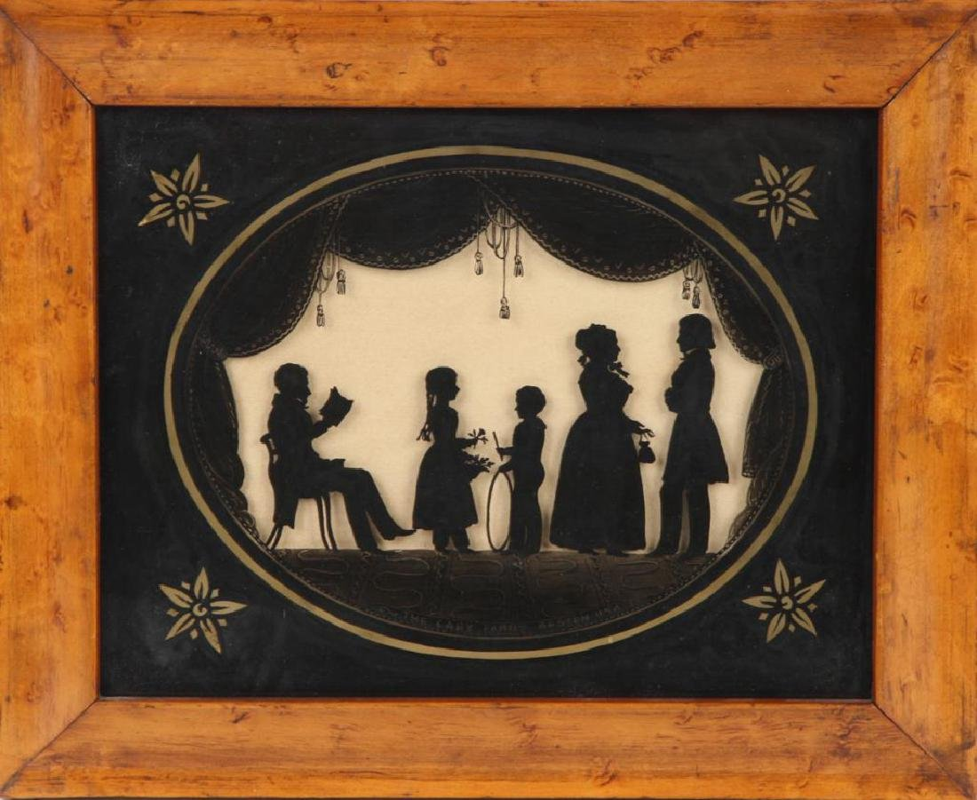 FOLK ART REVERSE PAINTING SILHOUETTE OF A FAMILY