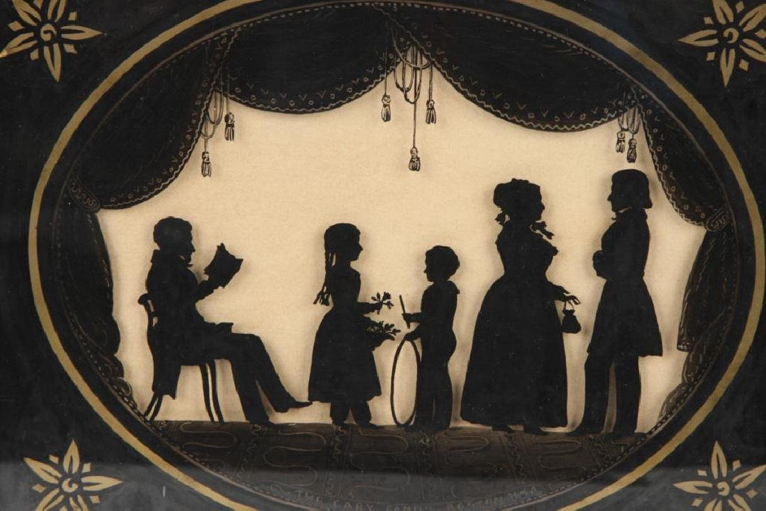 FOLK ART REVERSE PAINTING SILHOUETTE OF A FAMILY - 2