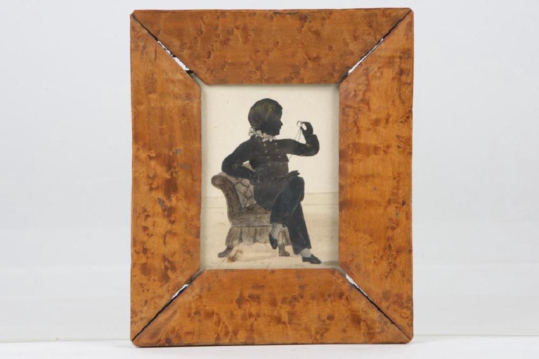 AMERICAN FOLK ART WATERCOLOR SILHOUETTE OF A BOY