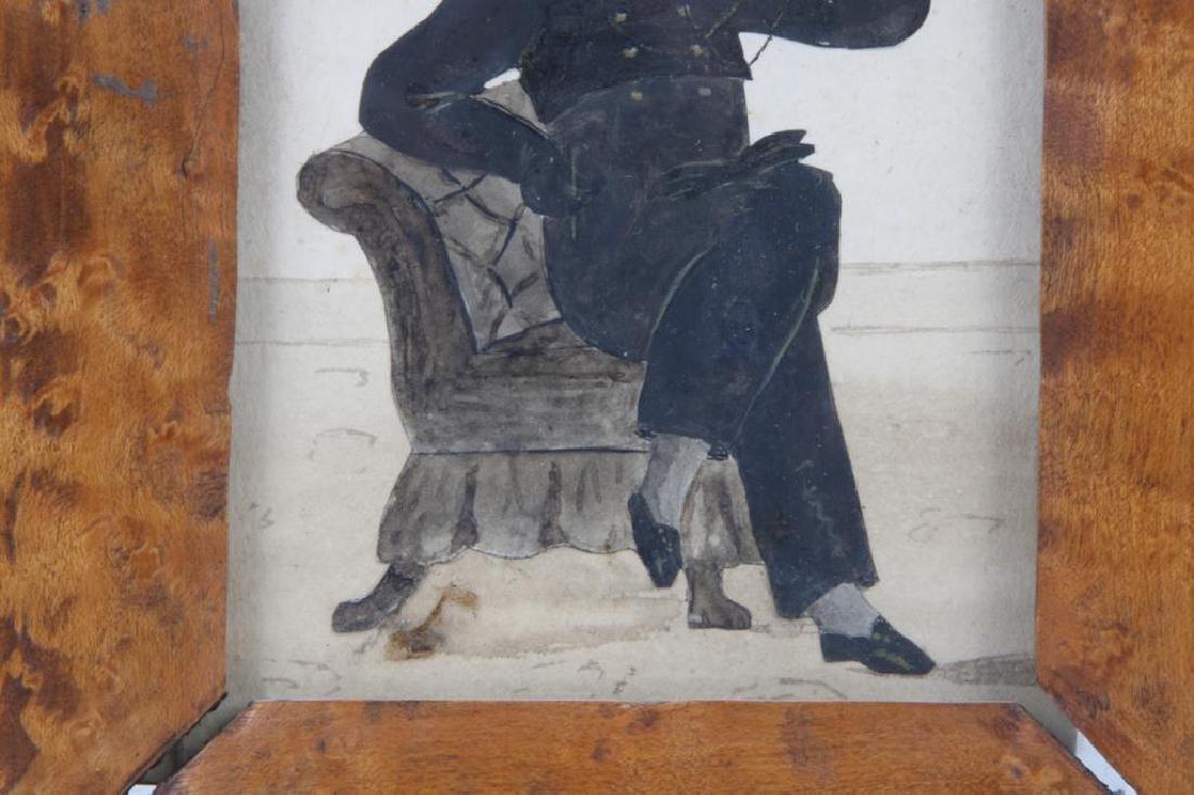 AMERICAN FOLK ART WATERCOLOR SILHOUETTE OF A BOY - 3