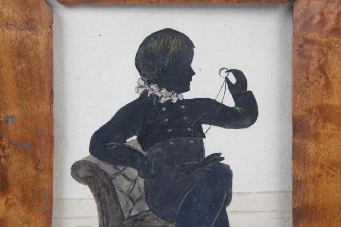 AMERICAN FOLK ART WATERCOLOR SILHOUETTE OF A BOY - 4