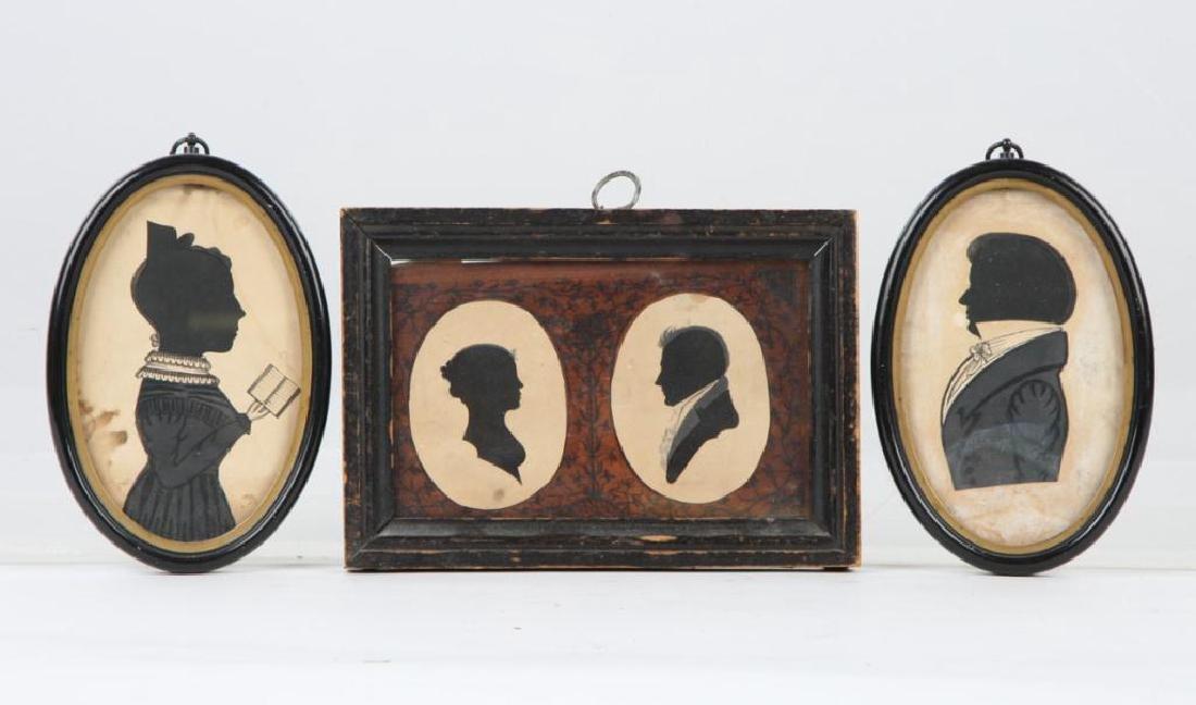 FOUR 19TH CENTURY FOLK ART PORTRAIT SILHOUETTES