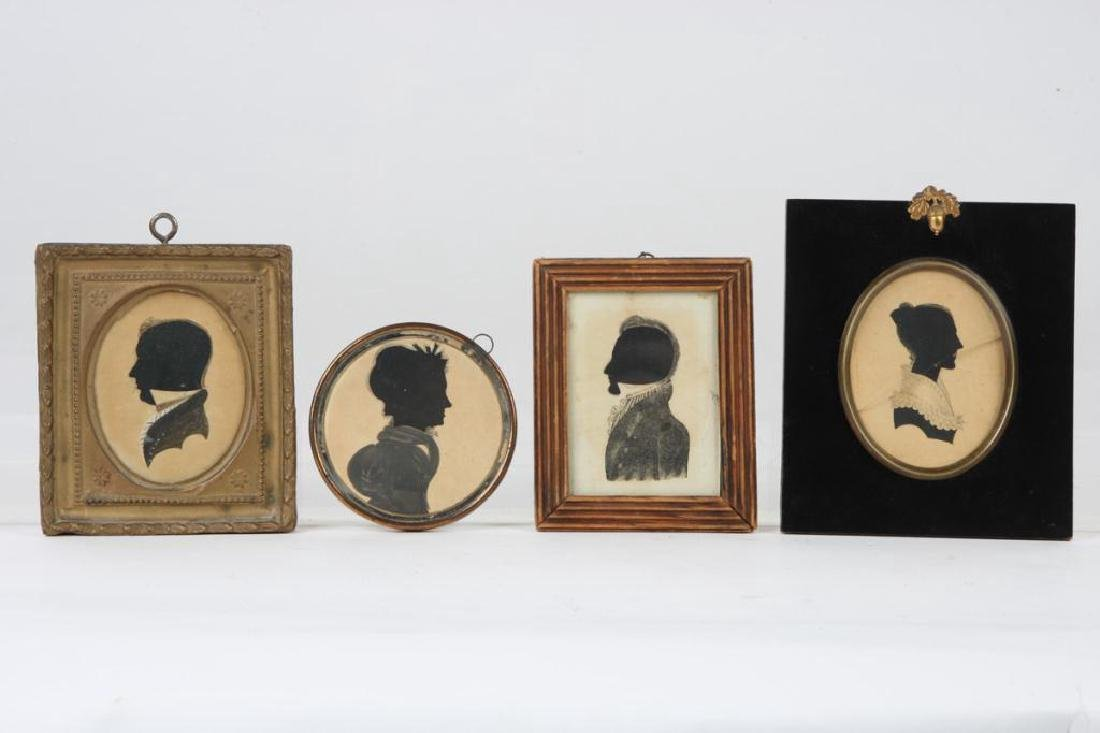 COLLECTION OF FOUR FOLK ART CUT PAPER SILHOUETTES
