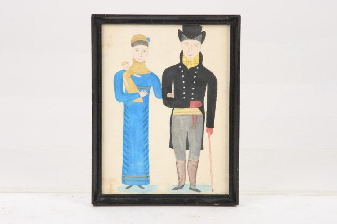 FOLK ART PORTRAIT OF A COUPLE WITH CHILD