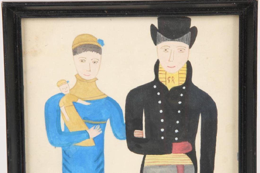 FOLK ART PORTRAIT OF A COUPLE WITH CHILD - 3