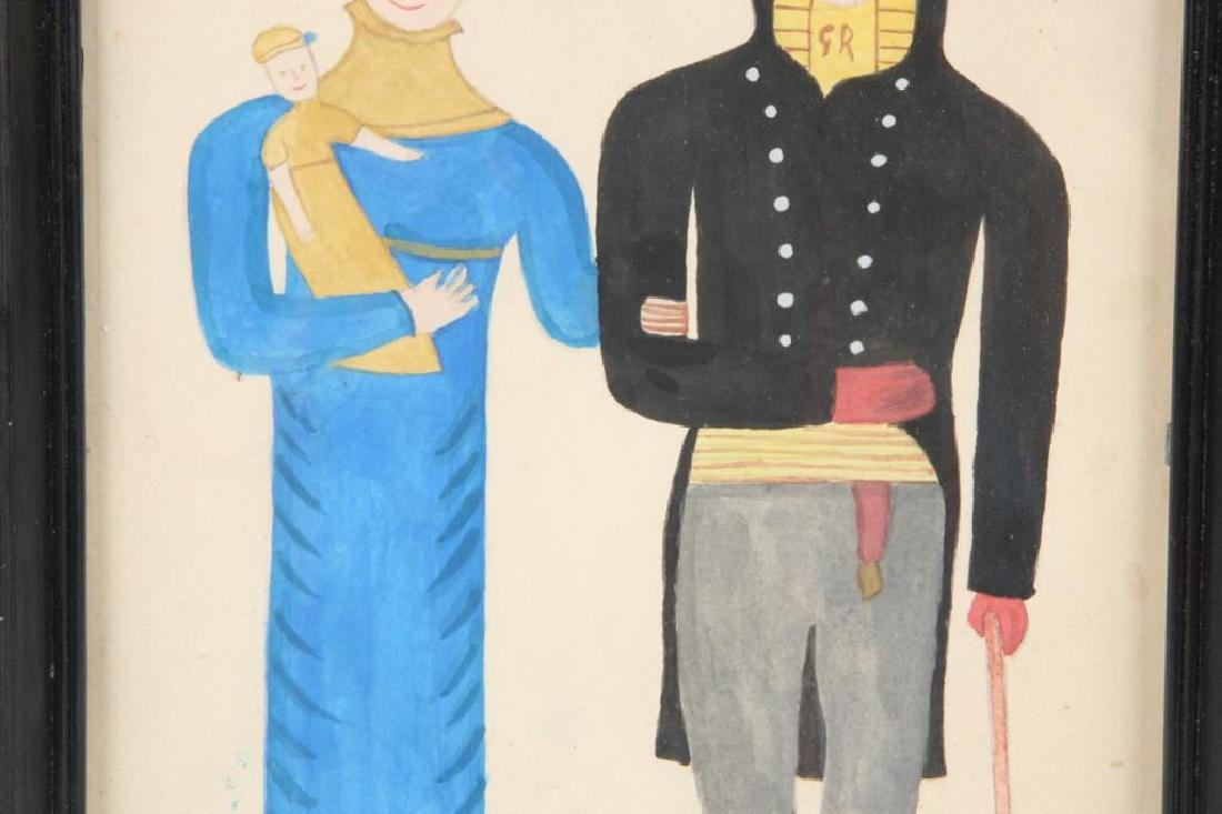 FOLK ART PORTRAIT OF A COUPLE WITH CHILD - 4