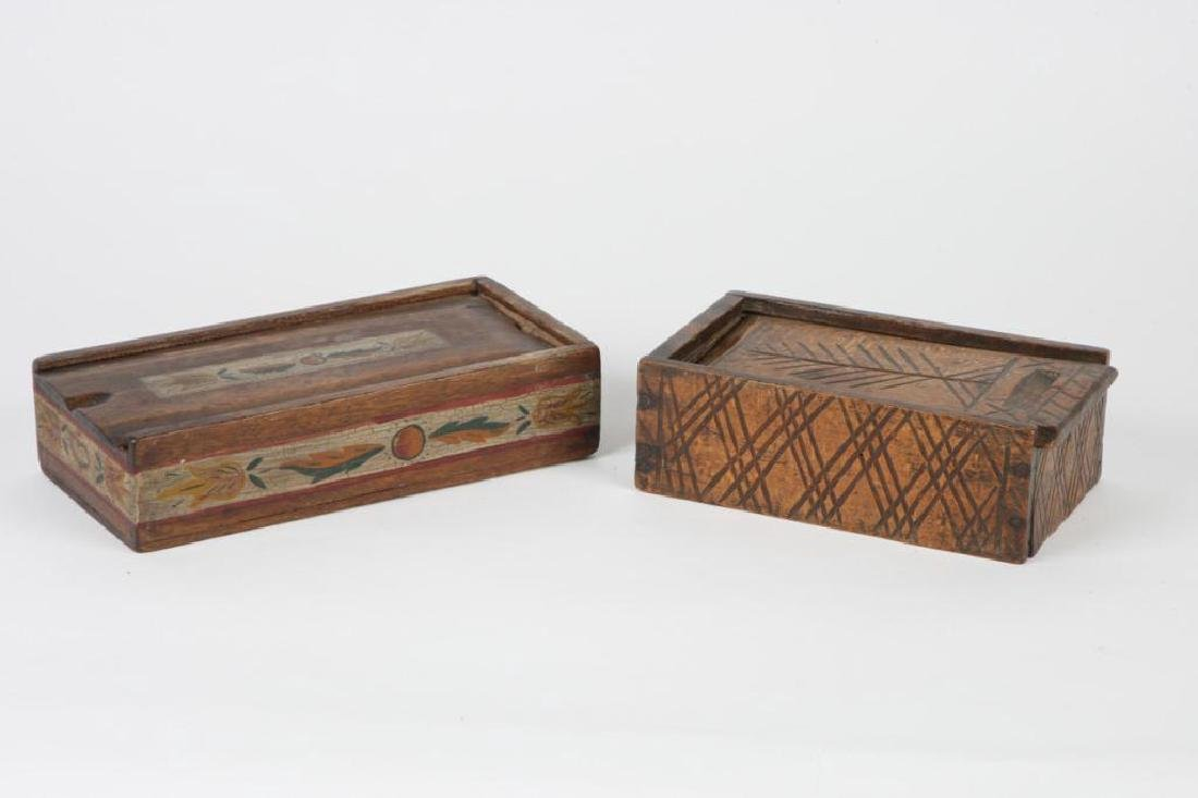 TWO (19thc ) DECORATED SPICE BOXES
