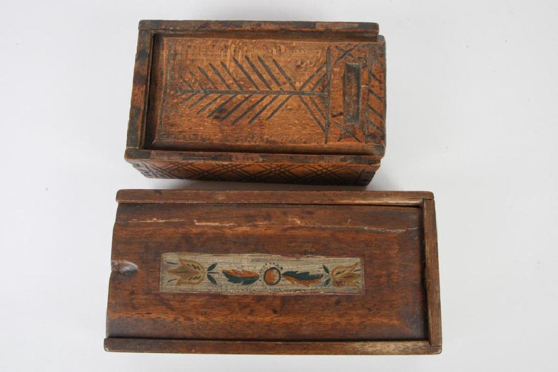 TWO (19thc ) DECORATED SPICE BOXES - 2