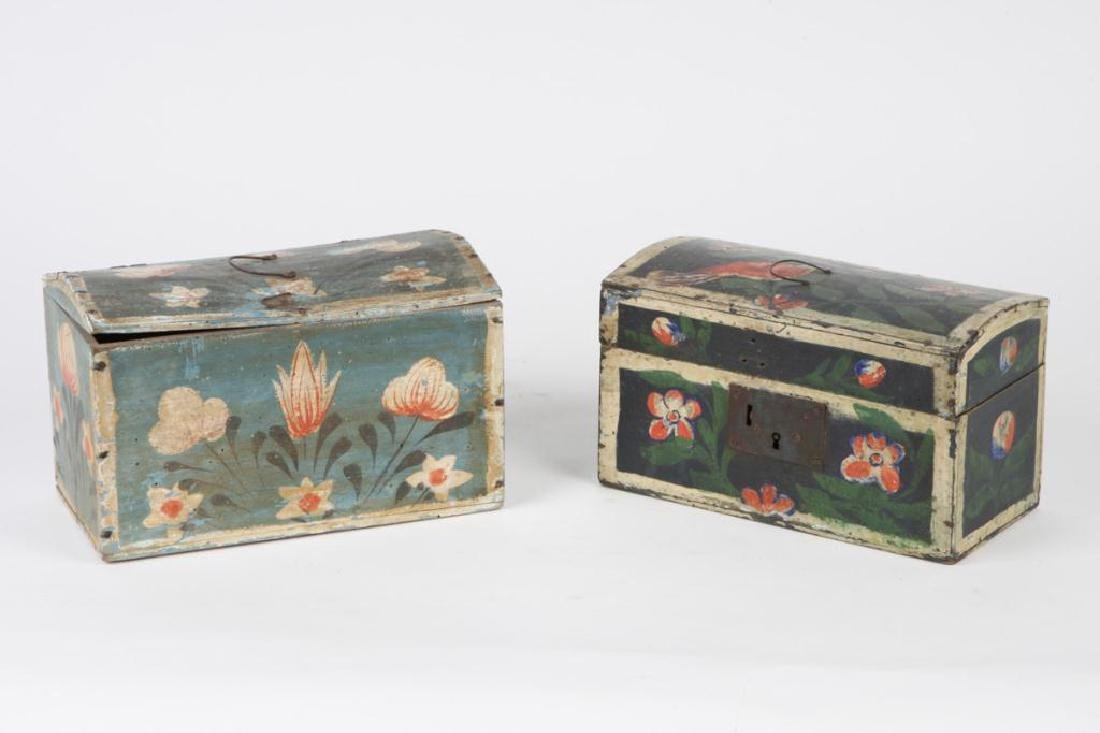 TWO(19th c) PAINT DECORATED BRIDE'S BOXES