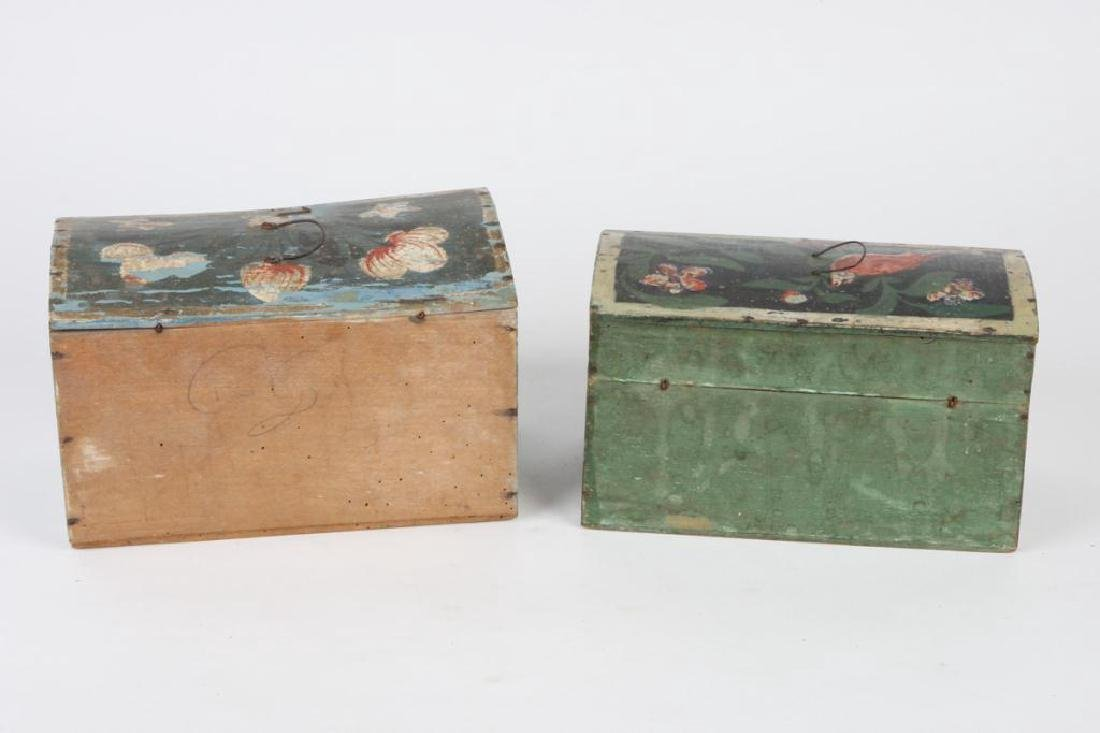TWO(19th c) PAINT DECORATED BRIDE'S BOXES - 2