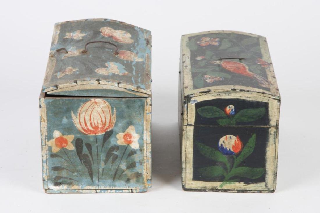 TWO(19th c) PAINT DECORATED BRIDE'S BOXES - 3