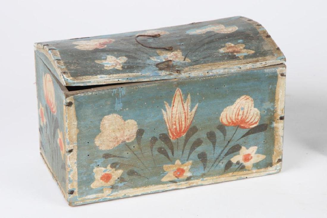 TWO(19th c) PAINT DECORATED BRIDE'S BOXES - 4