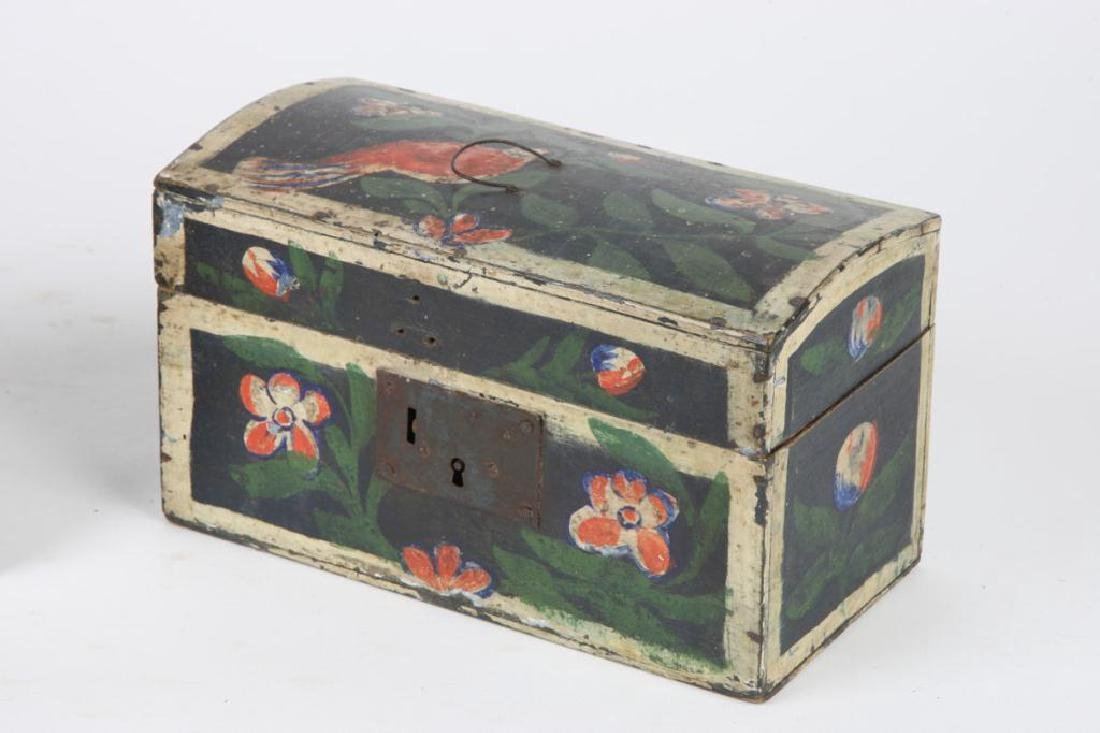 TWO(19th c) PAINT DECORATED BRIDE'S BOXES - 5