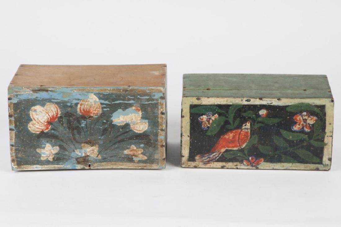 TWO(19th c) PAINT DECORATED BRIDE'S BOXES - 7