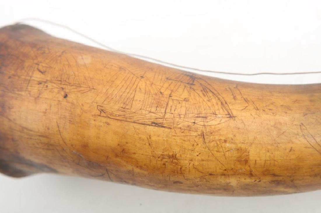 (18th c) POWDER HORN CARVED WITH SHIPS AND BIRDS - 2