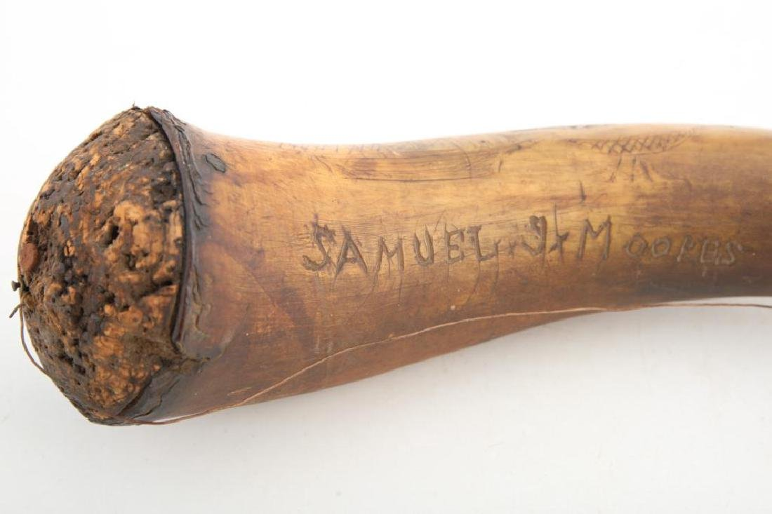 (18th c) POWDER HORN CARVED WITH SHIPS AND BIRDS - 4