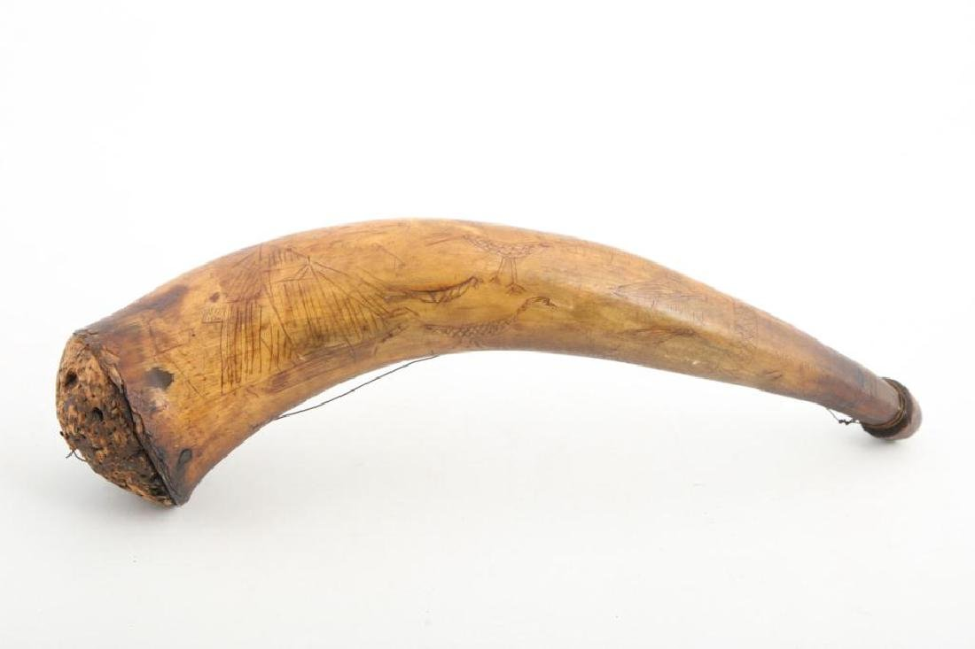 (18th c) POWDER HORN CARVED WITH SHIPS AND BIRDS - 5