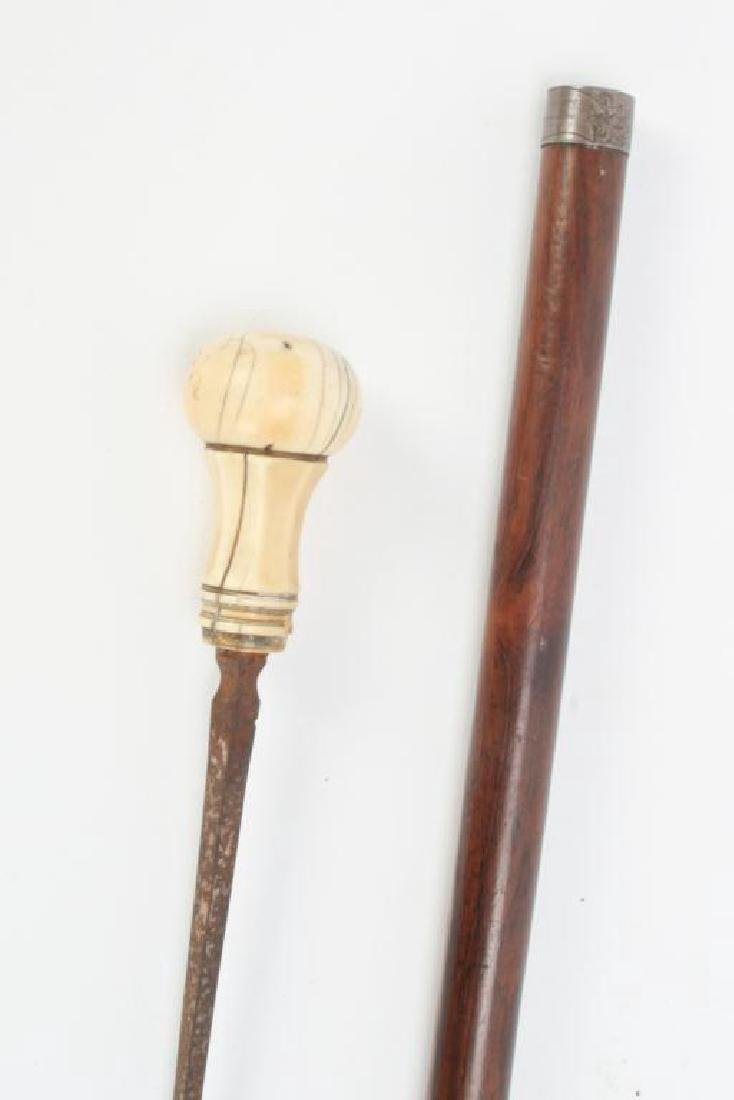 CA 1860 SWORD CANE WITH CARVED HANDLE - 8
