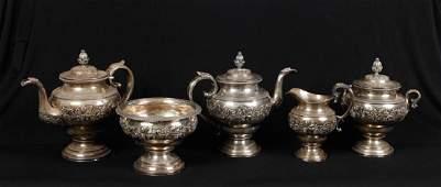 HARVEY LEWIS PHILADELPHIA COIN SILVER TEA SERVICE