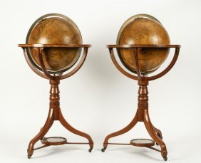 CARY OF LONDON 15 INCH FLOOR GLOBES c1820 (PAIR)