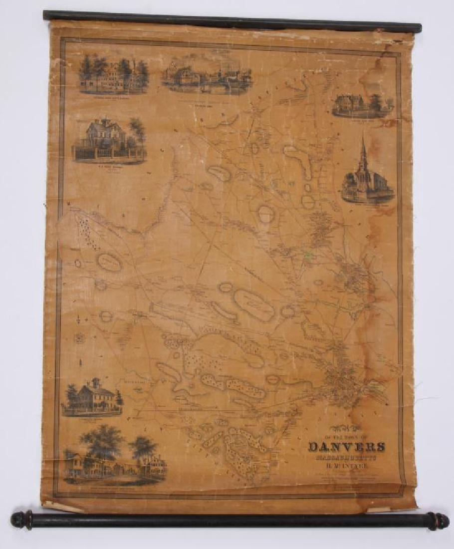 RARE 1852 MAP OF DANVERS, MA by HENRY McINTYRE